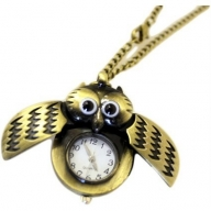 Steampunk Pendant - Winged Owl Clock