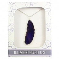 Silver Plated Agate Pendant - Purple