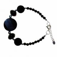 Lrg Black Stone & Silver Bracelet