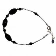 Classic Black Stone & Silver Bracelet