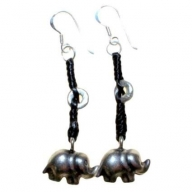 Black Waxed & Silver Elephant Earring