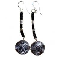Black Waxed & Silver Spiral Earring