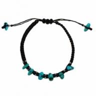 Blk Waxed Turquoise & Silver Bracelet D1