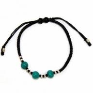 Blk Waxed Turquoise & Silver Bracelet D2