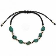 Blk Waxed Turquoise & Silver Bracelet D3