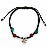 Black Waxed Turquoise & Carnelian Silver Bracelet