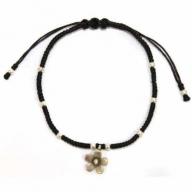 Black waxed & Silver Flower Bracelet