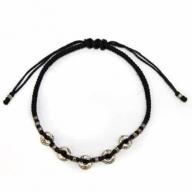 Black Waxed & Silver Bracelet D1