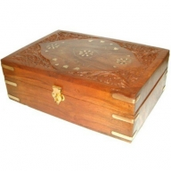 Carved Wooden Aromatherapy Box-holds 24x10ml