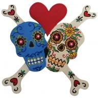 Floral Skull Bones Heart Red / Ivory