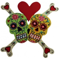 Floral Skull Bones Heart Green / Yellow