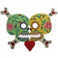 Floral Skull Kissing Green / Yellow