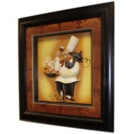 Hand Painted Relief Art - Chef - Pan & Hen