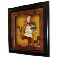 Hand Painted Relief Art - Chef - Wine & Hen