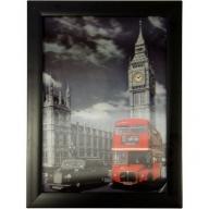 Iconic 3D 25x35cm - London Bus & Taxi