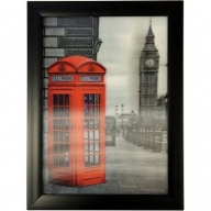 Iconic 3D 25x35cm - London Phone Box&Big Ben