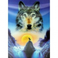 Lrg High Def 3D Pic - Wolf in Mountains
