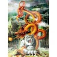Lrg High Def 3D Pic - Gold Dragon White Tiger
