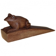 Handcarved Wooden Door-Stop - Frog