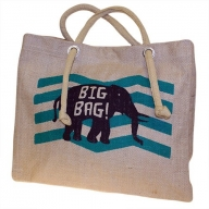 Big Jute Elephant Bag - Blue