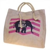 Big Jute Elephant Bag - Pink