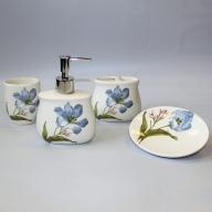 Ceramic Bath Set - Blue Lilies