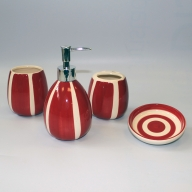 Ceramic Bath Set - Burgundy Bachelor