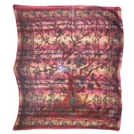 Cadi Cotton Bedspread / Wall Art - Tree of Life - Ruby
