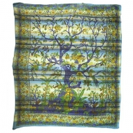 Cadi Cotton Bedspread / Wall Art - Tree of Life - Aqua