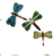 Dragonfly Mirrors Multi Colour (Set of 3)