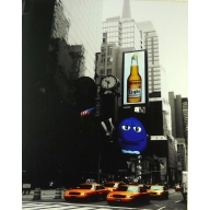 New York Adverts - 35cm x 28cm - 24mm Thick Wooden Base