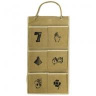 Jute Organiser 6 pockets - Lucky Symbols