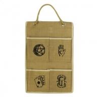 Jute Organiser 4 pockets - Lucky Symbols