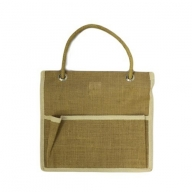 Jute Organiser 1 lrg pocket - Plain
