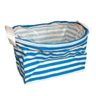 Reinforced Cotton Basket - Turquoise Stripes