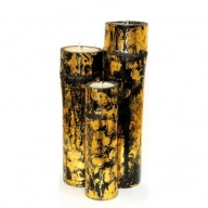 Set of 3 Bamboo Candles - Gold