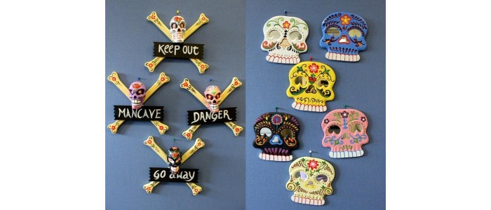 Floral Skulls Mirrors & Warning Signs